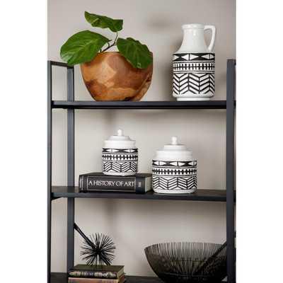 Litton Lane Black and White Aztec Ceramic Decorative Vase with Handle - Home Depot