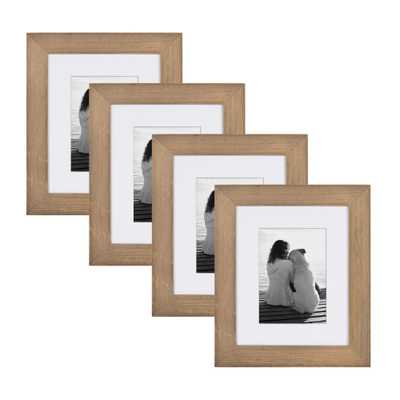 Museum 8 in. x 10 in. matted to 5 in. x 7 in. Rustic Brown Wood Picture Frame (Set of 4) - Home Depot