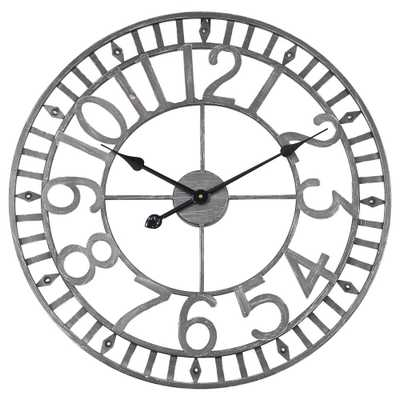 "Utopia Alley Manhattan Industrial Wall Clock, Analog, Gray, 24"", Grey - Home Depot"