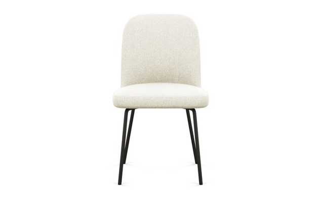 Dylan Dining Chair with Vanilla Fabric and Matte Black legs - Interior Define