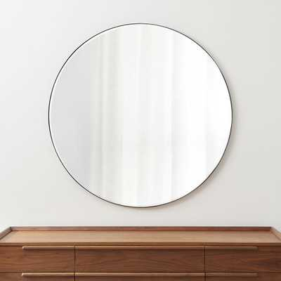 "Edge Gunmetal Round 48"" Wall Mirror - Crate and Barrel"