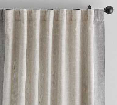 "Emery Framed Border Linen Drape, 50 X 96"", Oatmeal/Gray - Pottery Barn"