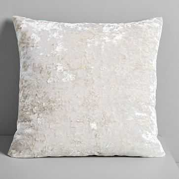 "Pressed Velvet Pillow Cover, Stone, 20""x20"" - West Elm"