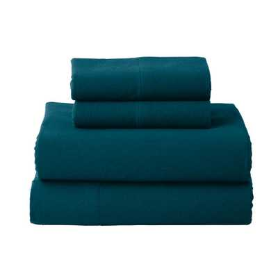The Company Store Solid Flannel 4-Piece Dark Teal Queen Sheet Set - Home Depot