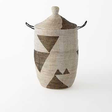 Graphic Printed Basket, Black/White, Large - West Elm