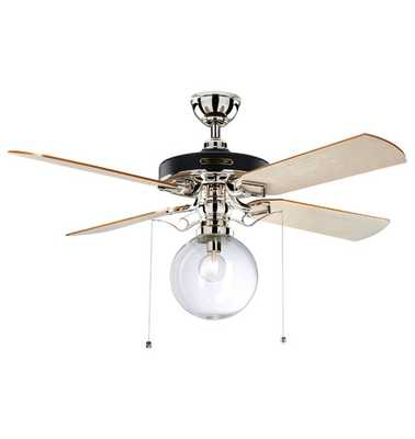 Heron Ceiling Fan With Clear Globe Shade - Rejuvenation