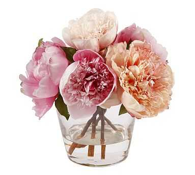 Faux Peony in Glass Vase - Pottery Barn