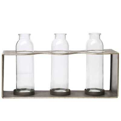 Metal Rectangle Bud Vase Holder With Clustered Glued Bottom Glass Bottles  And Smooth Edges Metallic Finish Copper - Wayfair