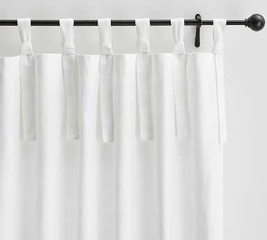 "Textured Cotton Tie-Top Drape, 50 x 96"", White - Pottery Barn"