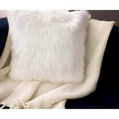 Faux Fur 2-Piece Decorative Pillow Set in White - Home Depot