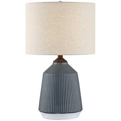 Lite Source Saratoga Gray Ceramic Striped Accent Table Lamp - Style # 69R51 - Lamps Plus