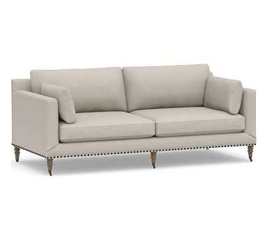 "Tallulah Upholstered Sofa 84"", Down Blend Wrapped Cushions, Performance Heathered Tweed Pebble - Pottery Barn"