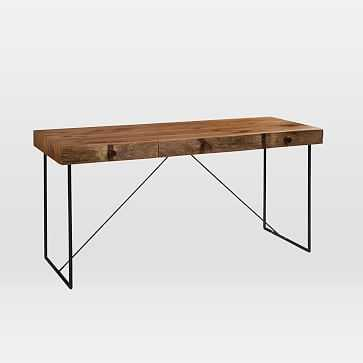 Natural Wood + Metal Writing Desk - West Elm