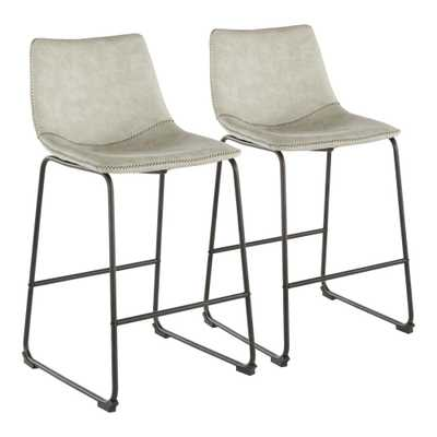 Lumisource Duke 25 in. Industrial Counter Stool with Light Grey Cowboy Fabric and Black Stitching (Set of 2), Light Grey/Black Stitching - Home Depot