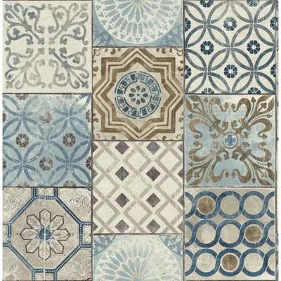 NextWall Moroccan Tile Peel and Stick Wallpaper, Blue/Brown/& Gray - Home Depot