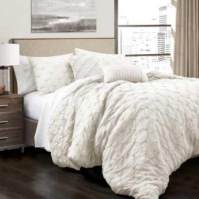Ravello Pintuck Comforter White 5-Piece King Set - Home Depot