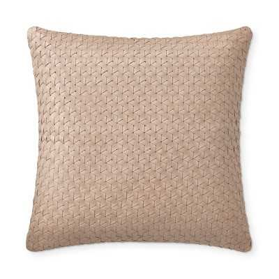 "Interlace Leather Pillow Cover, 18"" X 18"", Blush - Williams Sonoma"
