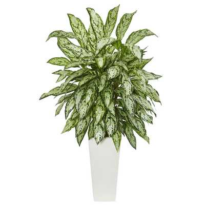 Silver Queen Artificial Plant in White Tower Planter - Home Depot