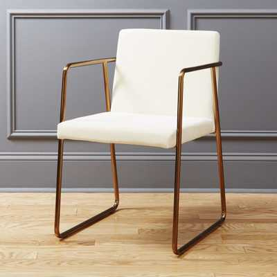 rouka white velvet chair - CB2