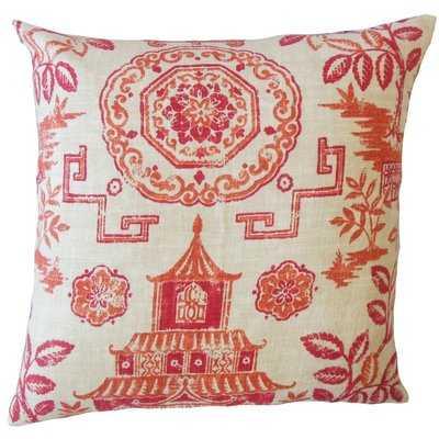 Mizpah Chinoiserie Linen Pillow - Wayfair
