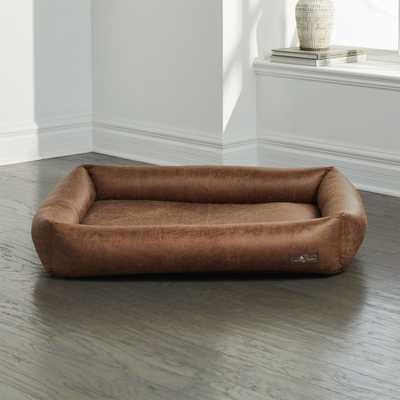 Cuddler Faux Leather Vintage Microfoam Large Dog Bed - Crate and Barrel