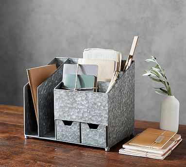 Brokers Wood & Galvanized Multi Desk Organizer - Pottery Barn