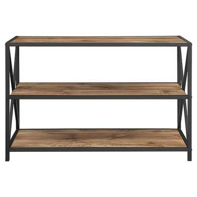 26 X - Frame Metal and Wood Media Bookshelf - Brown - Saracina Home, Barnwood - Target