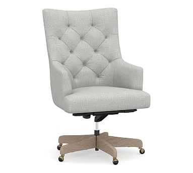 Radcliffe Desk Chair Gray Wash Base, Basketweave Slub Ash - Pottery Barn
