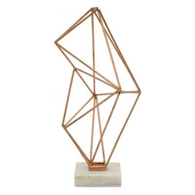 THREE HANDS 15 in. Metal Geometric Object in Copper (Brown) - Home Depot