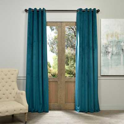 Exclusive Fabrics & Furnishings Blackout Signature Everglade Teal Blue Grommet Blackout Velvet Curtain - 50 in. W x 84 in. L (1 Panel) - Home Depot