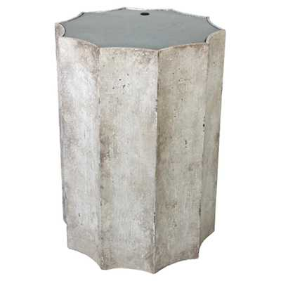 Julianna French Country Antique Mirror Top Distressed White Wood Side Table - Kathy Kuo Home