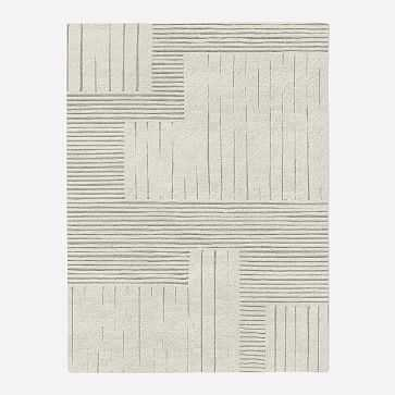 MTO Painted Mixed Stripes Rug, Ivory, 8x10 - West Elm