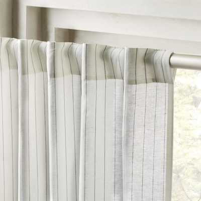"Pinstripe White/Black Curtain Panel 48""x120"" - CB2"