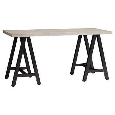 Customize-It Simple A Frame Desk, Water-Based Brushed Fog Desktop / Matte Black Base - Pottery Barn Teen