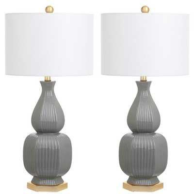 Safavieh Cleo 31.5 in. Grey Table Lamp (Set of 2) - Home Depot