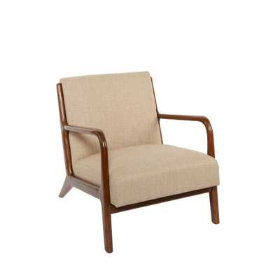 Silverwood Charles Beige Upholstered and Wood Accent Chair - Home Depot