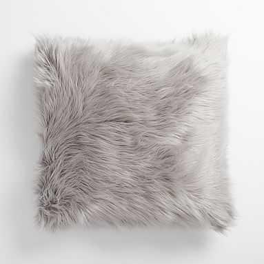 "Furrific Euro Pillow Cover, 26""x26"", Himalayan Gray - Pottery Barn Teen"
