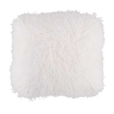 Genuine Mongolian Lamb Fur Sheepskin White 16 in. Square Pillow Cover with Cushion, White With Cushion - Home Depot