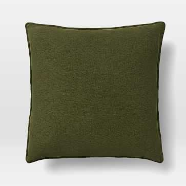 "Upholstery Fabric Pillow Cover, 18""x 18"" Welt Seam Pillow, Distressed Velvet, Olive - West Elm"