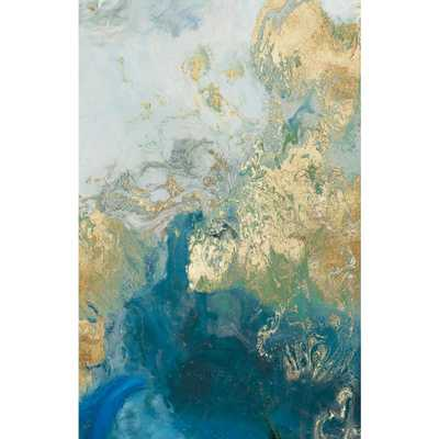 "Giant Art 54 in. x 84 in. ""Ocean Splash II"" by PI Studio Wall Art, blue - gold - Home Depot"