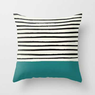 "Teal x Stripes Throw Pillow - Indoor Cover (20"" x 20"") with pillow insert by Floresimagespdx - Society6"