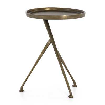 Schmidt Raw Brass Round Metal Accent Table - Crate and Barrel