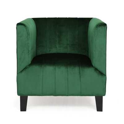 Noble House Kettering Modern Glam Emerald Velvet Club Chair, Green/Dark Brown - Home Depot