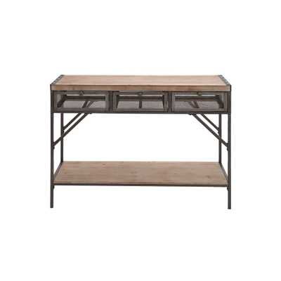 Distressed Black Iron Rectangular 3-Drawer Console Table - Home Depot