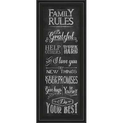 'Family Rules' Framed Textual Art - Wayfair