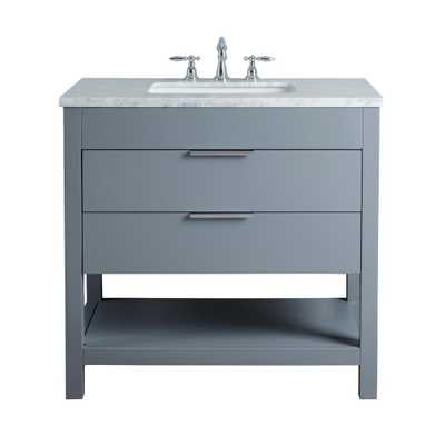 Stufurhome Rochester 36 in. Grey Single Sink Bathroom Vanity with Marble Vanity Top and White Basin - Home Depot