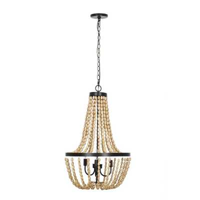 Alsy 3-Light Bronze with Natural Wood Beaded Chandelier - Home Depot