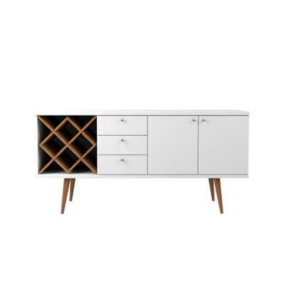 Utopia 4-Bottle White Gloss and Maple Cream Wine Rack Sideboard Buffet Stand with 3-Drawers and 2-Shelves - Home Depot