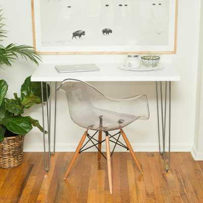42 in. White Hairpin Leg Wood Writing Desk - Home Depot