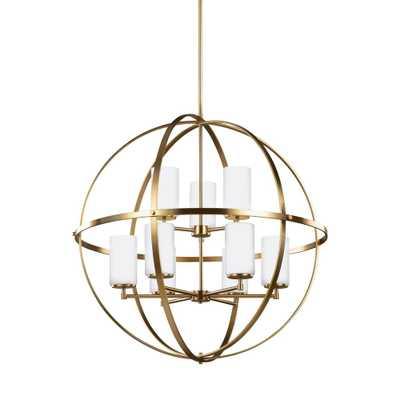 Sea Gull Lighting Alturas 32.5 in. W. 9-Light Satin Bronze Chandelier - Home Depot